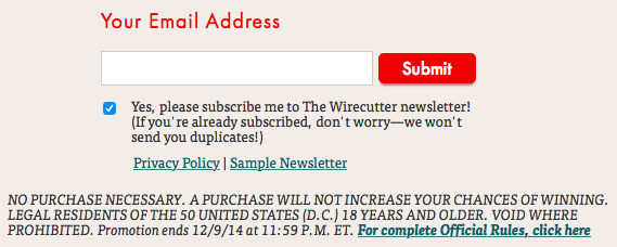 Sign up form for The Wirecutter